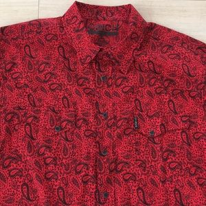 Cinch Red Black Paisley Western Shirt Mens Large